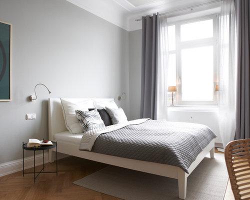 Camere Da Letto Pareti Grigie : Camera da letto con parquet chiaro amburgo foto e idee per arredare