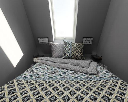 Kleines Modernes Schlafzimmer Ohne Kamin Mit Grauer Wandfarbe In Berlin