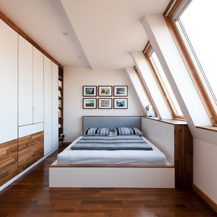 Medium sized contemporary bedroom in Other with white walls, medium hardwood flooring and no fireplace.