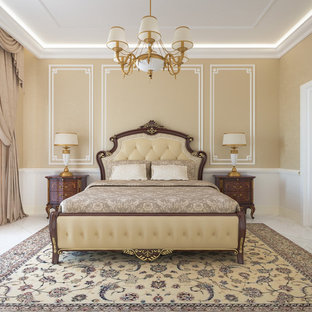 Inspiration for a mid-sized timeless master marble floor bedroom remodel in Frankfurt with beige walls and no fireplace