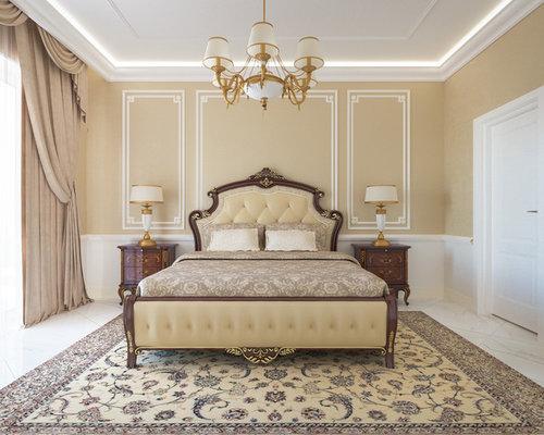 Mittelgroßes Klassisches Hauptschlafzimmer Ohne Kamin Mit Beiger Wandfarbe  Und Marmorboden In Frankfurt Am Main