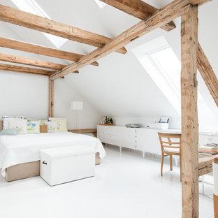 Modernes Hauptschlafzimmer mit weißer Wandfarbe und Linoleum in Dortmund