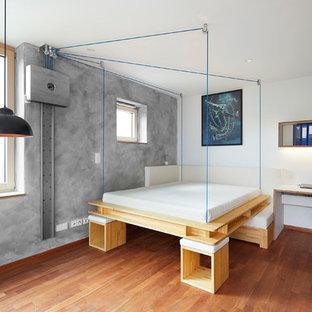 Mittelgroßes Modernes Hauptschlafzimmer ohne Kamin mit grauer Wandfarbe, hellem Holzboden und braunem Boden in Sonstige