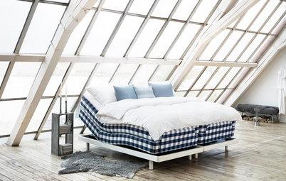 Designikoner: Den blå- og hvidternede madras har 164 på bagen