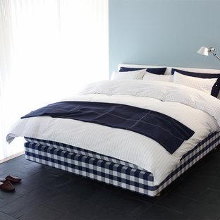 Idée de décoration pour une petite chambre nordique avec un mur bleu, un sol en ardoise et un sol noir.