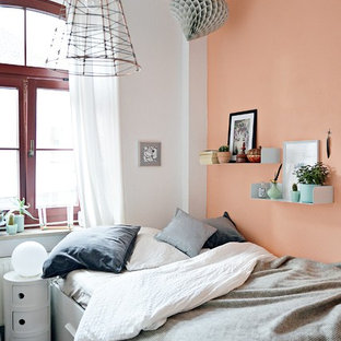 75 Beautiful White Bedroom With Orange Walls Pictures ...