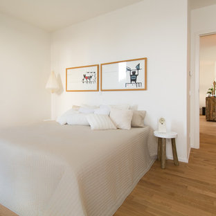 Inspiration for a mid-sized scandinavian master bedroom in Essen with white walls, medium hardwood floors and no fireplace.