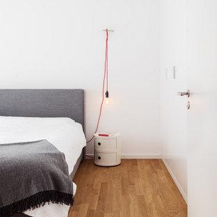 Mittelgroßes Skandinavisches Hauptschlafzimmer mit braunem Holzboden und weißer Wandfarbe in Frankfurt am Main