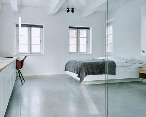 Moderne Schlafzimmer mit Betonboden - Ideen & Design | HOUZZ