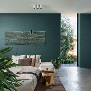 Chambre avec un mur vert Hambourg : Photos et idées déco de chambres