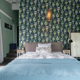 Modernes Schlafzimmer mit grüner Wandfarbe in Düsseldorf