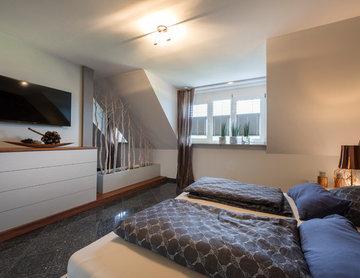 Modernes Schlafzimmer mit Raumteiler und Ankleide