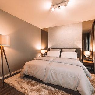 ライプツィヒの中サイズのコンテンポラリースタイルのおしゃれな主寝室 (グレーの壁、クッションフロア、茶色い床)