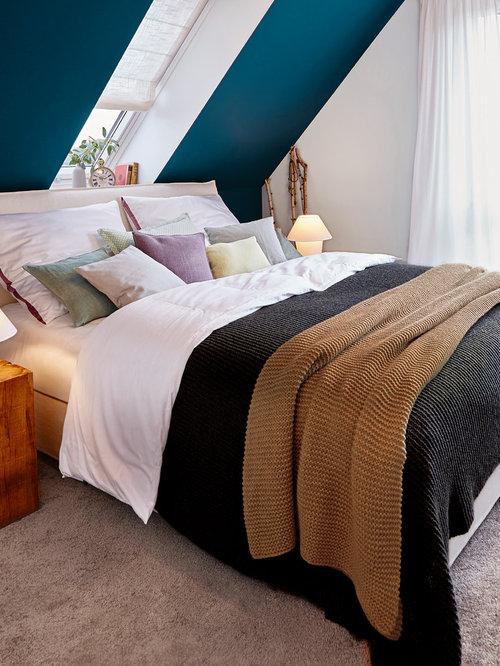 Hervorragend Kleines Modernes Hauptschlafzimmer Ohne Kamin Mit Weißer Wandfarbe,  Teppichboden Und Beigem Boden In Sonstige