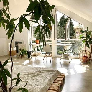 Diseño de habitación de invitados moderna, de tamaño medio, con paredes blancas, suelo de linóleo y suelo blanco