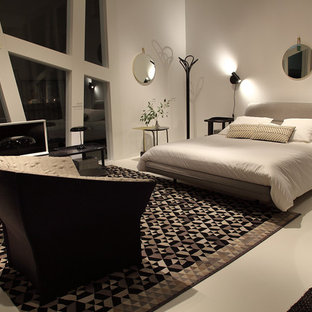 Bedroom - large traditional master limestone floor and beige floor bedroom idea in Munich with beige walls