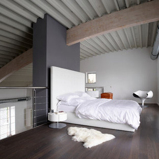 Inspiration for an expansive industrial loft-style bedroom in Other with dark hardwood floors, no fireplace, white walls, a plaster fireplace surround and brown floor.