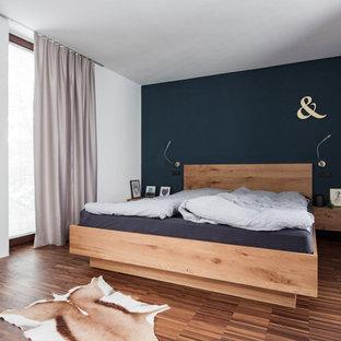 Skandinavische Schlafzimmer Mit Blauer Wandfarbe Ideen Design