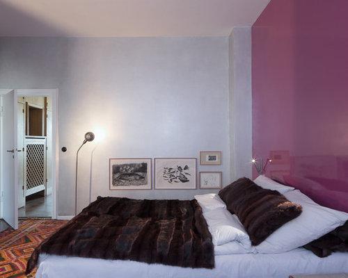 Modernes Schlafzimmer Mit Lila Wandfarbe In Köln