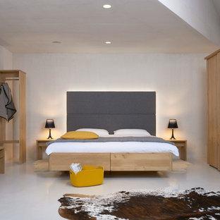 moderne hauptschlafzimmer designs bedroom designs mittelgroßes modernes hauptschlafzimmer ohne kamin mit grauem boden weißer wandfarbe und dunklem holzboden in nürnberg moderne ideen design bilder houzz