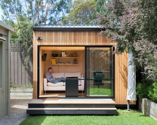 small contemporary detached studio workshop shed idea in melbourne - Shed Ideas Designs