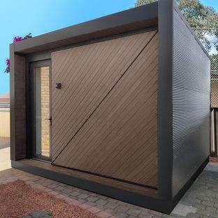 Foto di piccoli garage e rimesse indipendenti contemporanei con ufficio, studio o laboratorio