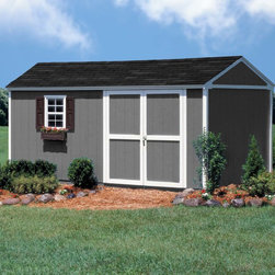 "Storage Sheds & Garage Buildings - This 10x16 shed is our best selling gable-style storage solution because it has so much built-in functionality! This 10 ft. wide gable-design building features 6 ft. high sidewalls and an 8'9""-ft. high peak. The 16 ft. depth ensures that this shed is spacious enough to fit a tractor, while the high peak can store your other outdoor or seasonal items as well. Backyard Buildings"