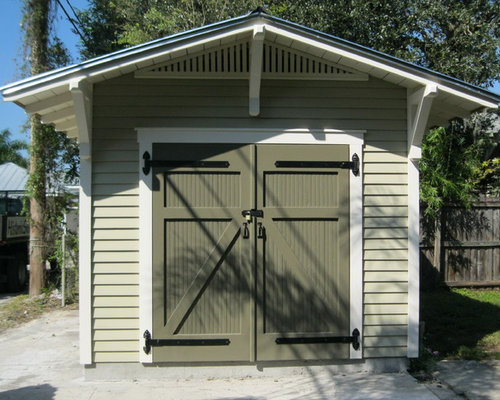 Arts and crafts garage and shed home design ideas photos for Craftsman style storage sheds