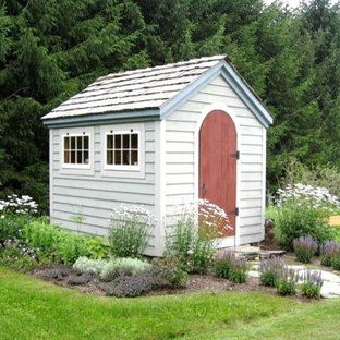 Photo of a small eclectic detached garden shed in Providence.