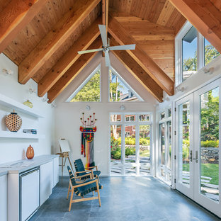 Inspiration for a contemporary detached studio / workshop shed remodel in DC Metro