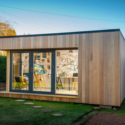 Studio / workshop shed - mid-sized contemporary detached studio / workshop shed idea in Other