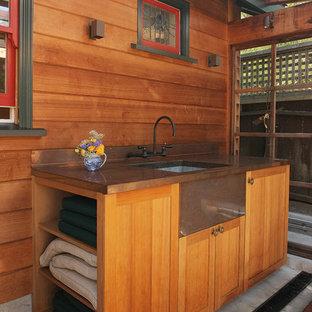 Exemple d'un petit abri de jardin séparé craftsman avec un bureau, studio ou atelier.