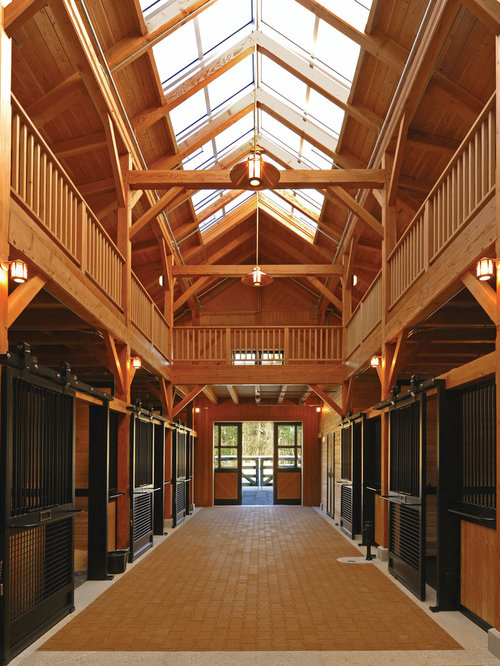 Horse Stall Design Ideas 10 stall horse barn plan blue prints buy horse barn plans living quarters Example Of A Trendy Barn Design In Boston