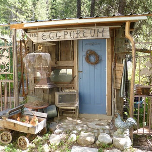 Inspiration for a shabby-chic style garden shed in Vancouver.
