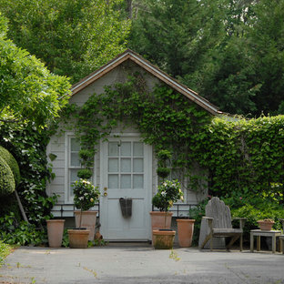 Traditional detached garden shed in New York.