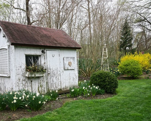 inspiration for a shabby chic style detached garden shed remodel in philadelphia