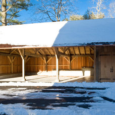 Traditional Garage And Shed by Hugh Lofting Timber Framing, Inc.
