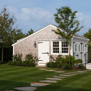 Medium sized coastal detached garden shed and building in Boston.