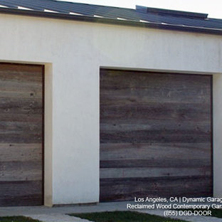 Contemporary Garage Doors Crafted In Rustic, Reclaimed Wood Salvaged From A  Barn