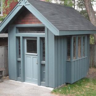 Ispirazione per piccoli garage e rimesse indipendenti american style con ufficio, studio o laboratorio