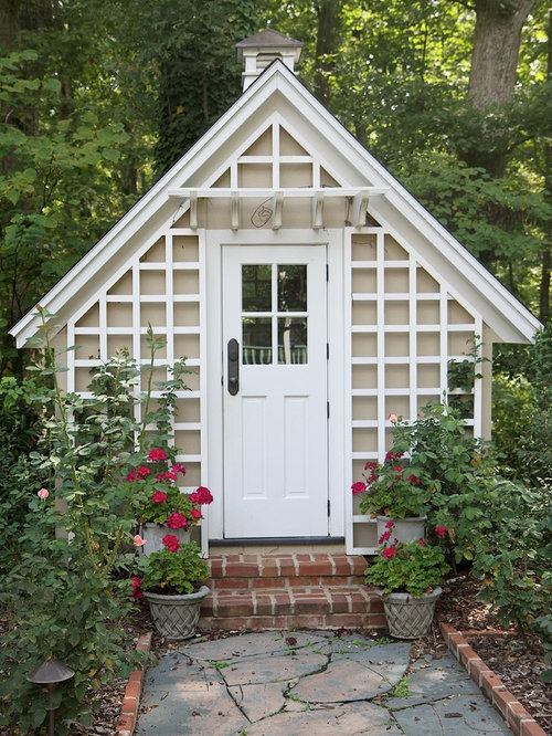 Lattice work home design ideas pictures remodel and decor for Victorian garden shed designs