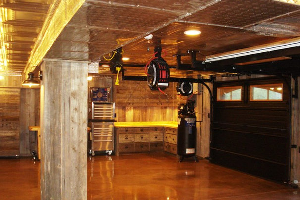 Rustic Garage And Shed by Monica Durante Interiors, Inc