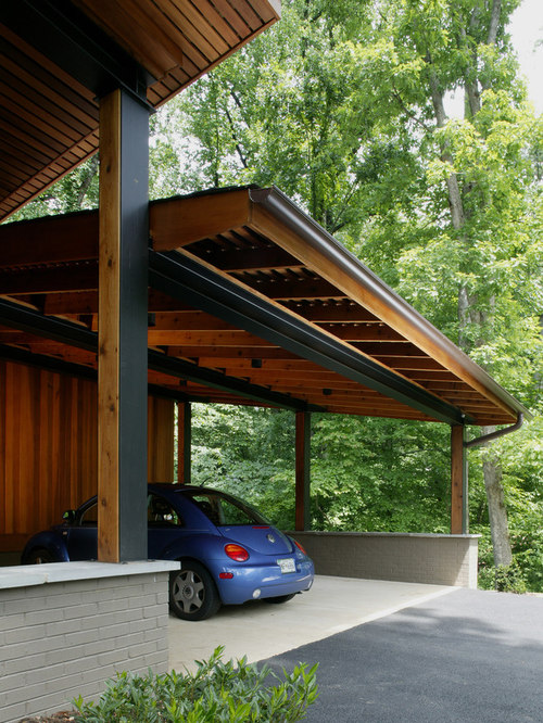Attached carport houzz for Shed with carport attached