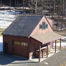 Farmhouse Garage And Shed by Hitchcock Construction LLC