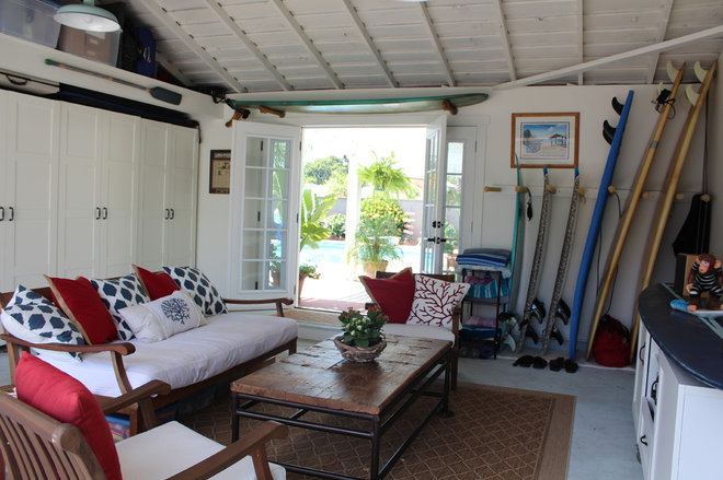 Blog 6 great garage conversions dreamed up by houzzers for Shed into pool house