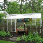 Garden Room With Spa And Greenhouse Traditional Shed