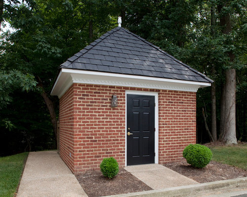 Brick shed houzz for Brick garden shed designs