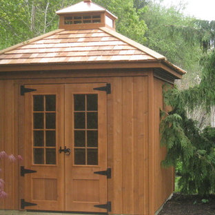 Photo of a small contemporary detached garden shed in Toronto.