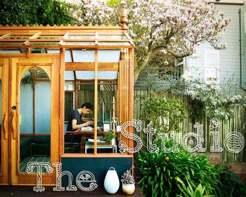 backyard greenhouse houzz