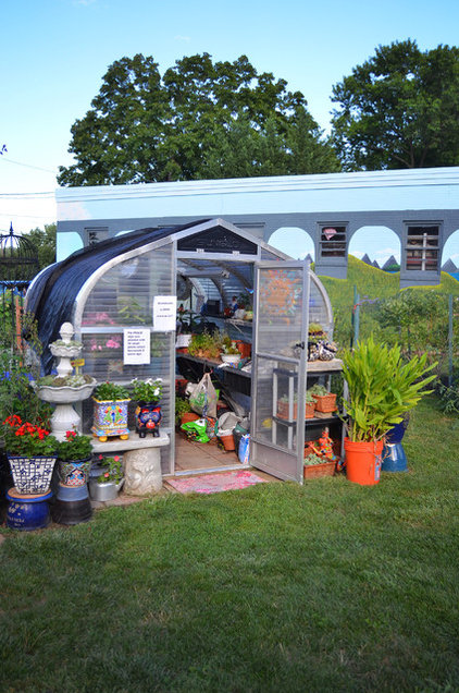 eclectic garage and shed by Amy Renea